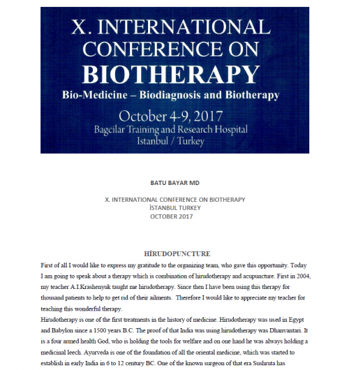 Dr. Batu Bayar - Leech Therapy Presentation-10th Biotherapy Congress - Istanbul