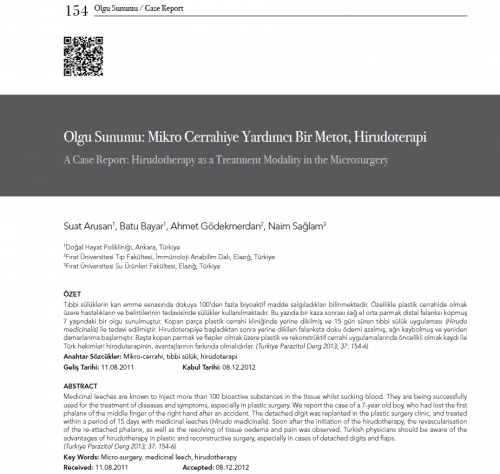 Dr.Batu-Bayar-Olgu Sunumu- Mikro Cerrahiye Yardımcı Bir Metot, Hirudoterapi Yayini